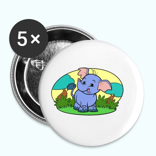 Tiny Elephant Art Collection - Buttons small 1''/25 mm (5-pack)