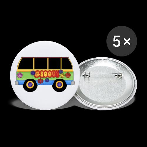 GROOVY BUS - Buttons small 1''/25 mm (5-pack)