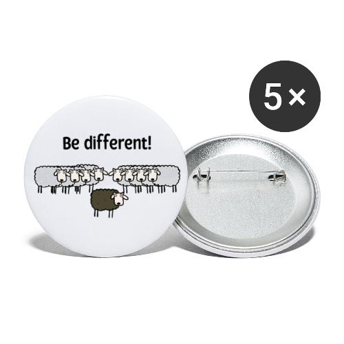 Be different - Buttons klein 25 mm (5er Pack)
