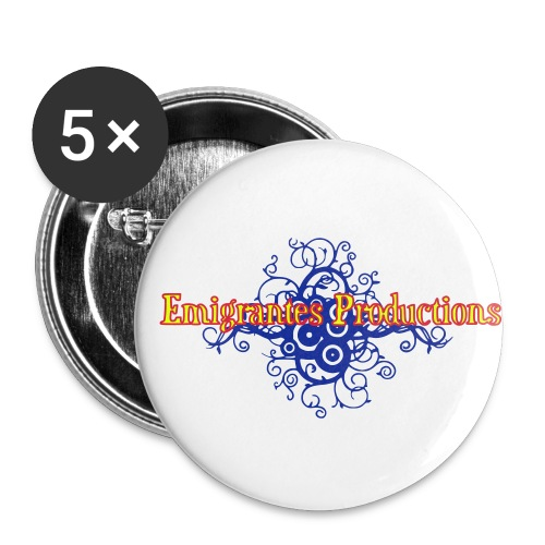 Emigrantes Productions logo SVG 3 couleurs - Lot de 5 petits badges (25 mm)