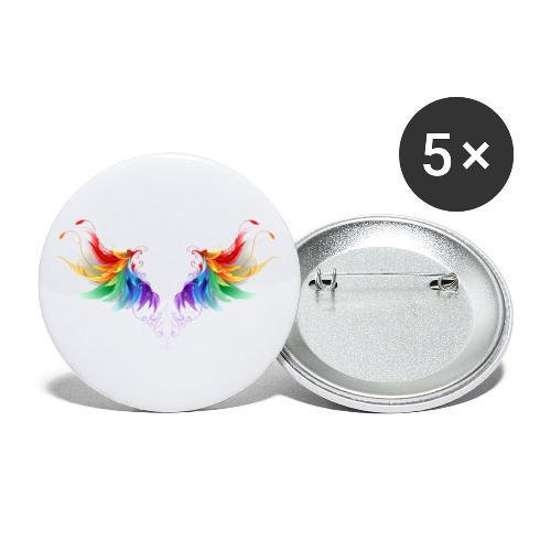 Ailes d'Archanges aux belles couleurs vives - Lot de 5 petits badges (25 mm)