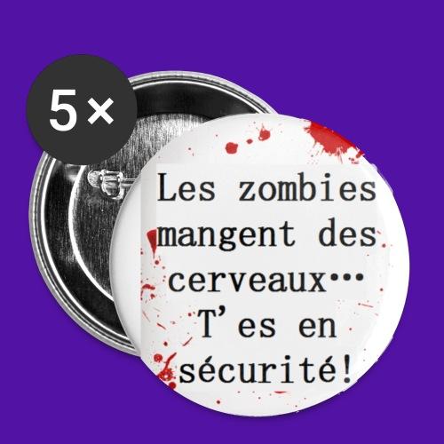 Les zombies mangent des cerveaux... - Lot de 5 petits badges (25 mm)