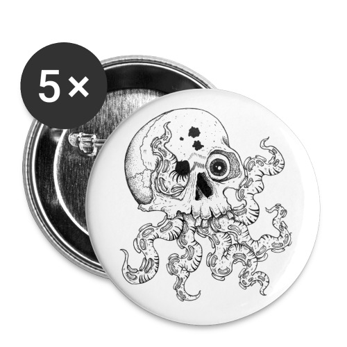 Octoskull - Buttons klein 25 mm (5er Pack)