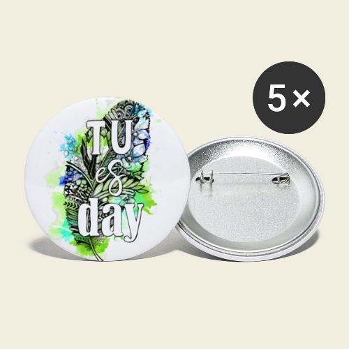 Tu-es-day Grün - Buttons klein 25 mm (5er Pack)