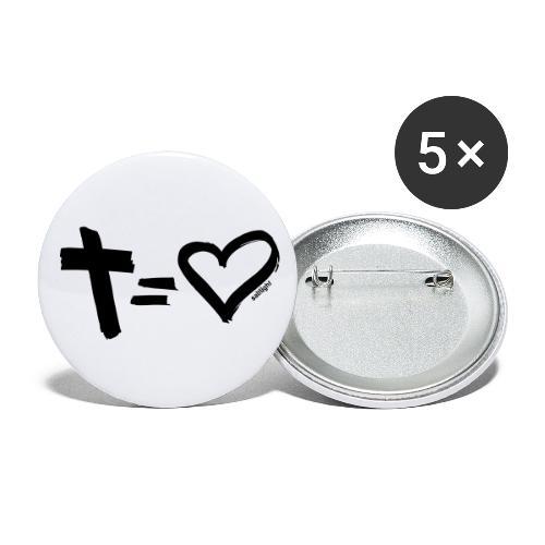 Cross = Heart BLACK // Cross = Love BLACK - Buttons small 1''/25 mm (5-pack)
