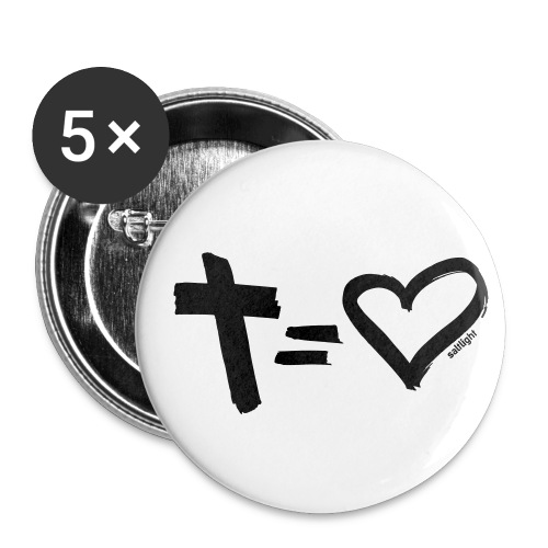 Cross = Heart BLACK // Cross = Love BLACK - Buttons small 25 mm