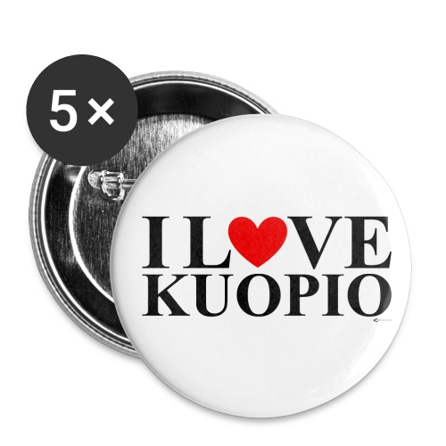 I LOVE KUOPIO (koko teksti, musta) - Rintamerkit pienet 25 mm (5kpl pakkauksessa)
