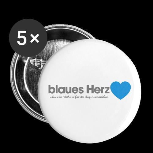 blaues Herz - Buttons klein 25 mm