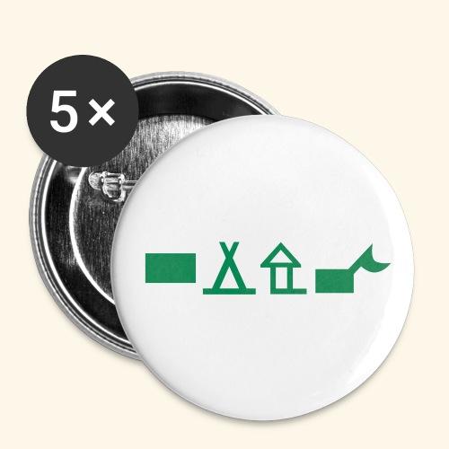 Unterkünfte 2 - Buttons klein 25 mm (5er Pack)