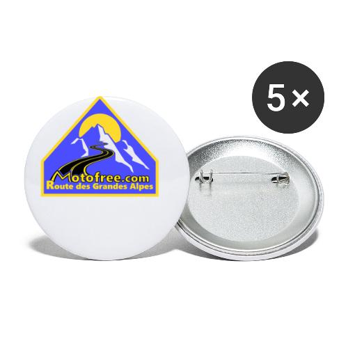 Logo motofree bleu - Lot de 5 petits badges (25 mm)