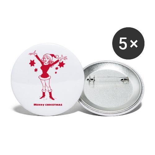 Kerstvrouw vrolijk kerstfeest - Buttons klein 25 mm (5-pack)