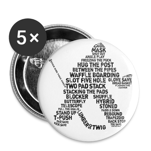 Goalie Lingo - Grunge Text Version (black print) - Buttons small 1''/25 mm (5-pack)