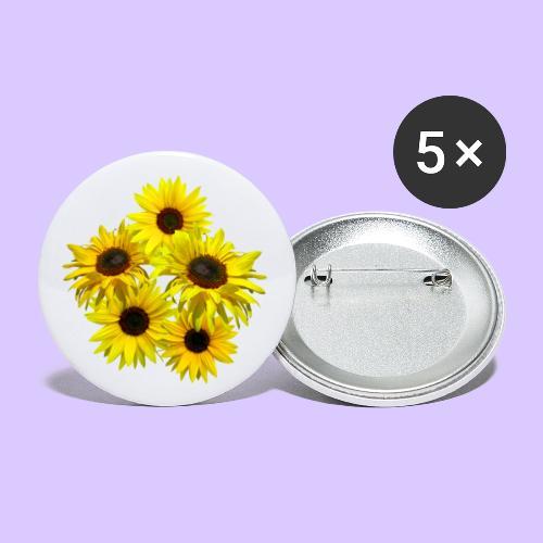 Sonnenblumenstrauss, Sonnenblume, Sonnenblumen - Buttons klein 25 mm (5er Pack)