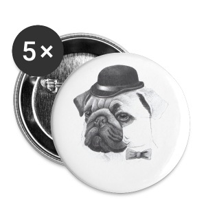 pug with bowler - Buttons/Badges lille, 25 mm