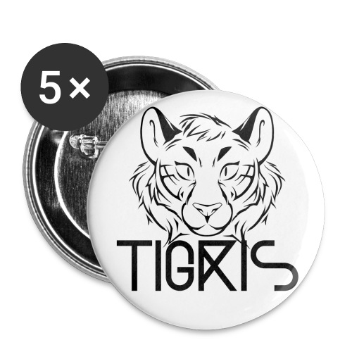 Tigris Logo Picture Text Black - Buttons small 1''/25 mm (5-pack)