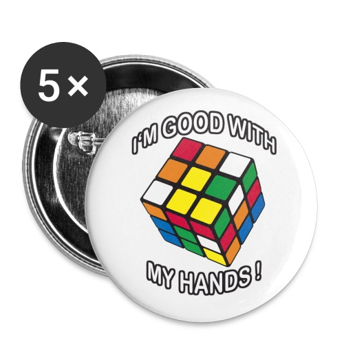 Rubik's Cube Quotes I'm Good With My Hands - Buttons small 1''/25 mm (5-pack)