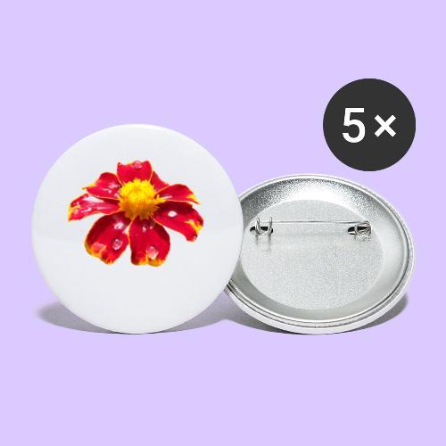 rote Ringelblume mit Regentropfen, Blume, Blüte - Buttons klein 25 mm (5er Pack)