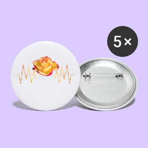 Rose, Herzschlag, Rosen, Blume, Herz, Frequenz - Buttons klein 25 mm (5er Pack)