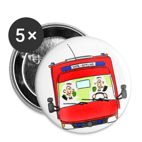 Meisterretter Cartoon Rettungswagen - Buttons klein 25 mm (5er Pack)