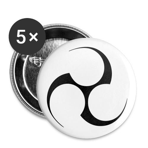Mitsudomoe Symbol (invertiert) - Buttons klein 25 mm (5er Pack)