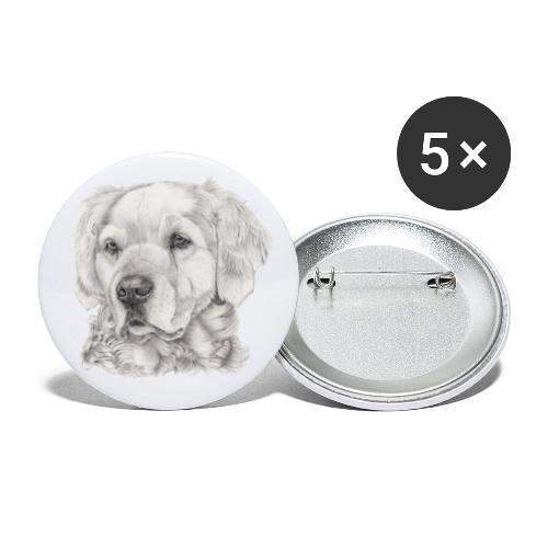 golden retriever - Buttons/Badges lille, 25 mm (5-pack)