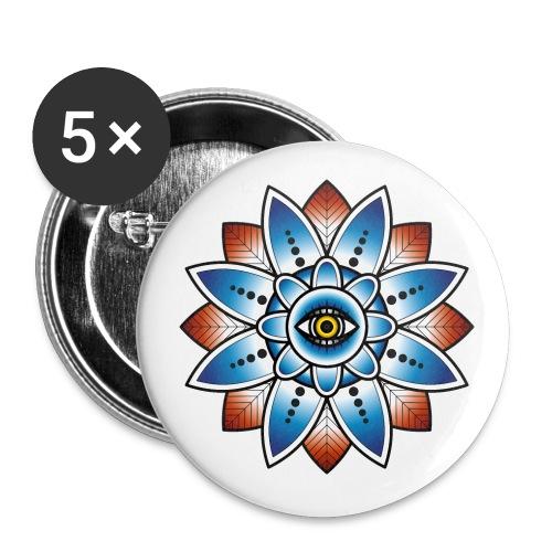 Psychedelisches Mandala mit Auge - Buttons klein 25 mm (5er Pack)