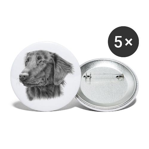 flatcoated retriever bw - Buttons/Badges lille, 25 mm (5-pack)