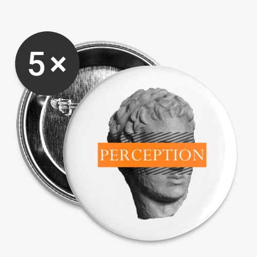 TETE GRECQ ORANGE - PERCEPTION CLOTHING - Lot de 5 petits badges (25 mm)