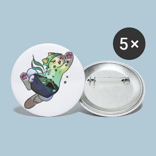 Gato y ramen - Paquete de 5 chapas pequeñas (25 mm)