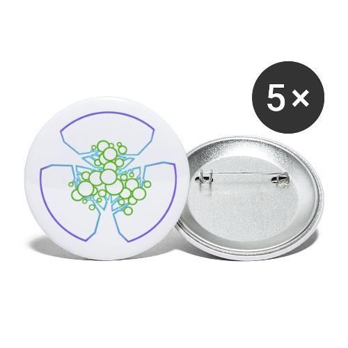 Drei Bäume, blau-grün - Buttons klein 25 mm (5er Pack)