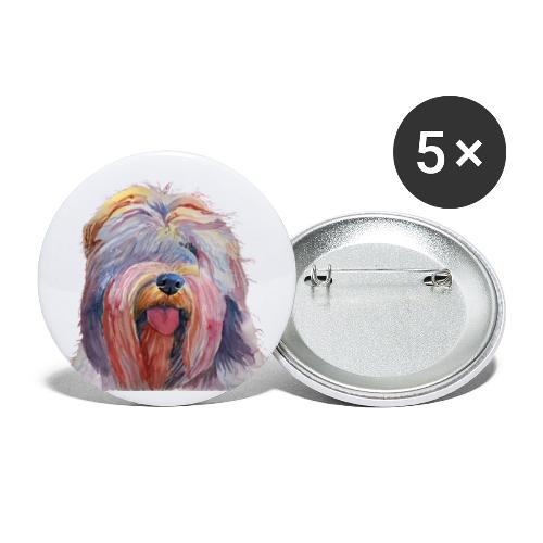 schapendoes - Buttons/Badges lille, 25 mm (5-pack)