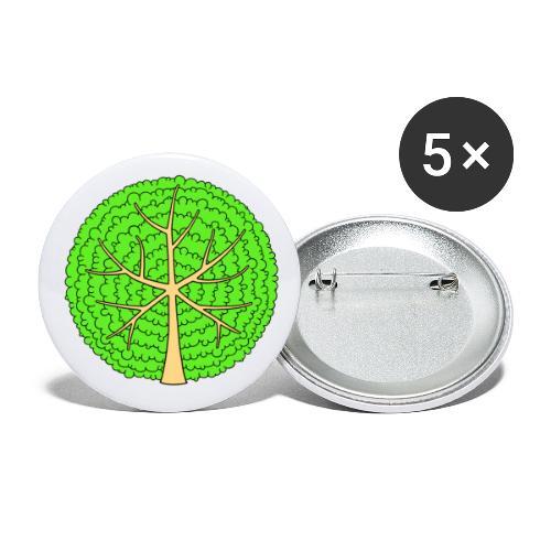 Baum, rund, hellgrün - Buttons klein 25 mm (5er Pack)