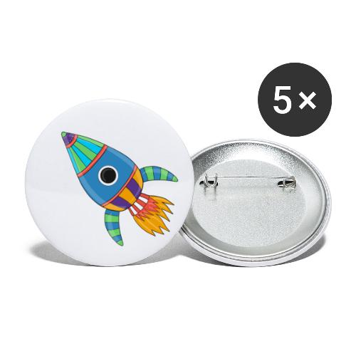 Bunte Rakete - Buttons klein 25 mm (5er Pack)