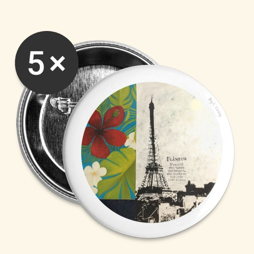 Flâneur - Lot de 5 petits badges (25 mm)