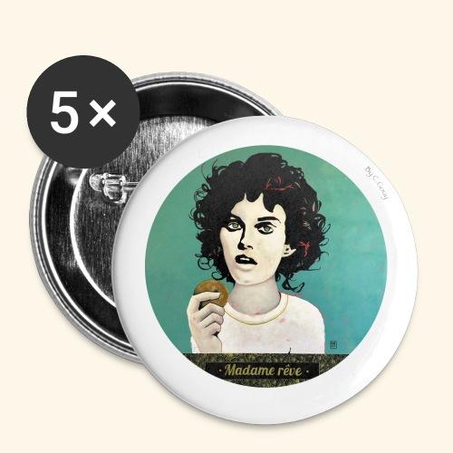 Madame rêve - Lot de 5 petits badges (25 mm)