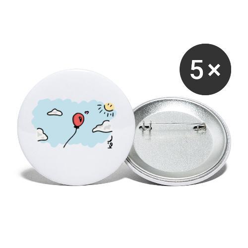 Ballon Amoureux - Lot de 5 petits badges (25 mm)