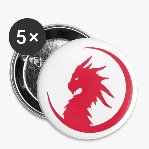 Dragon Moon Silhouette - Buttons/Badges lille, 25 mm (5-pack)