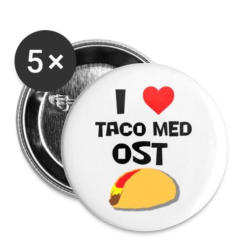I love taco med ost - Liten pin 25 mm (5-er pakke)
