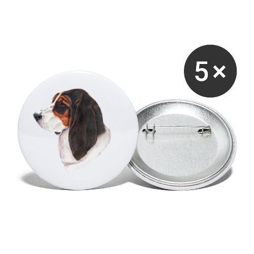 bassethound color - Buttons/Badges lille, 25 mm (5-pack)