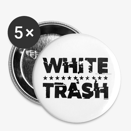 White Trash Svart - Små knappar 25 mm (5-pack)