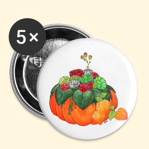 Bouquet d'automne : Succulentes et citrouille - Badge petit 25 mm