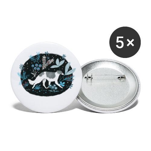 Barsoi im Mitternachtswald - Buttons klein 25 mm (5er Pack)