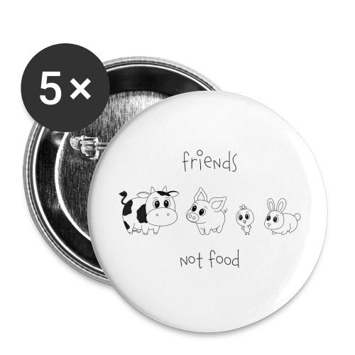 Friends, not food! (Schwarz) - Buttons klein 25 mm (5er Pack)