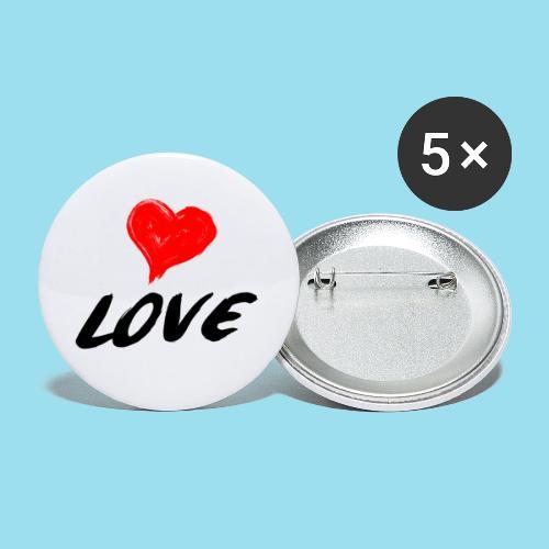 LOVE - Buttons klein 25 mm (5er Pack)