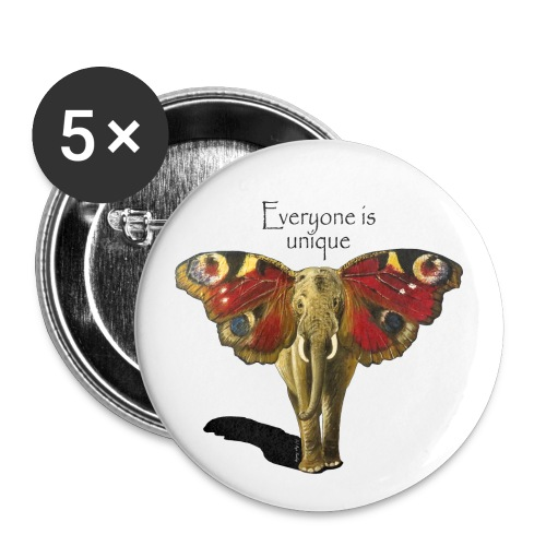 Everyone is unique – Schmettefant - Buttons klein 25 mm (5er Pack)