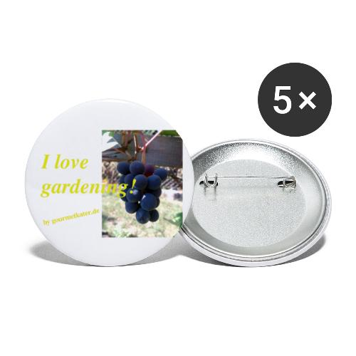Weintraube - I love gardening - Buttons klein 25 mm (5er Pack)