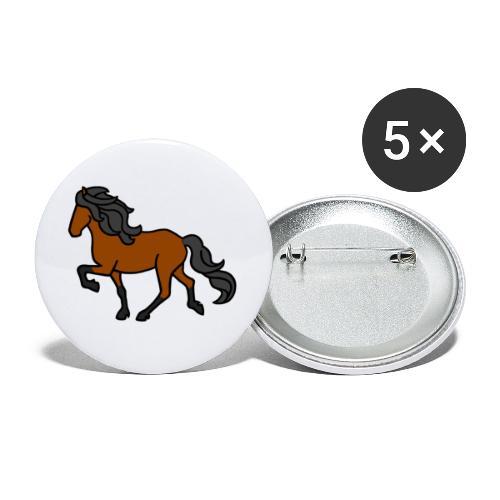 Islandpferd, Brauner, heller - Buttons klein 25 mm (5er Pack)