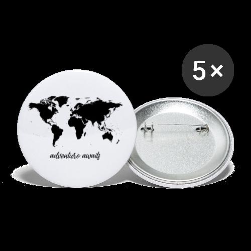 adventure awaits - Weltkarte - Buttons klein 25 mm (5er Pack)