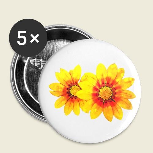 Leuchtende gelbe Blumen - Buttons klein 25 mm (5er Pack)