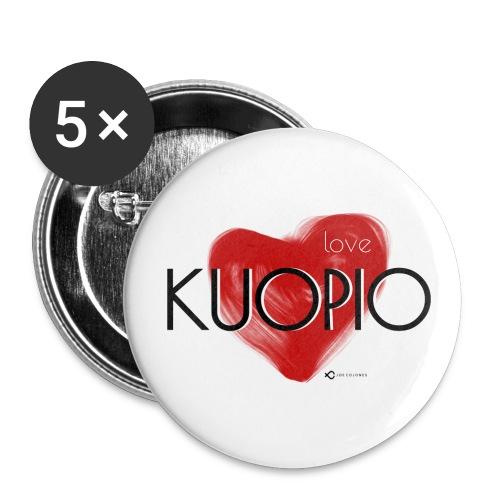 Love Kuopio teksti keskellä - Rintamerkit pienet 25 mm (5kpl pakkauksessa)